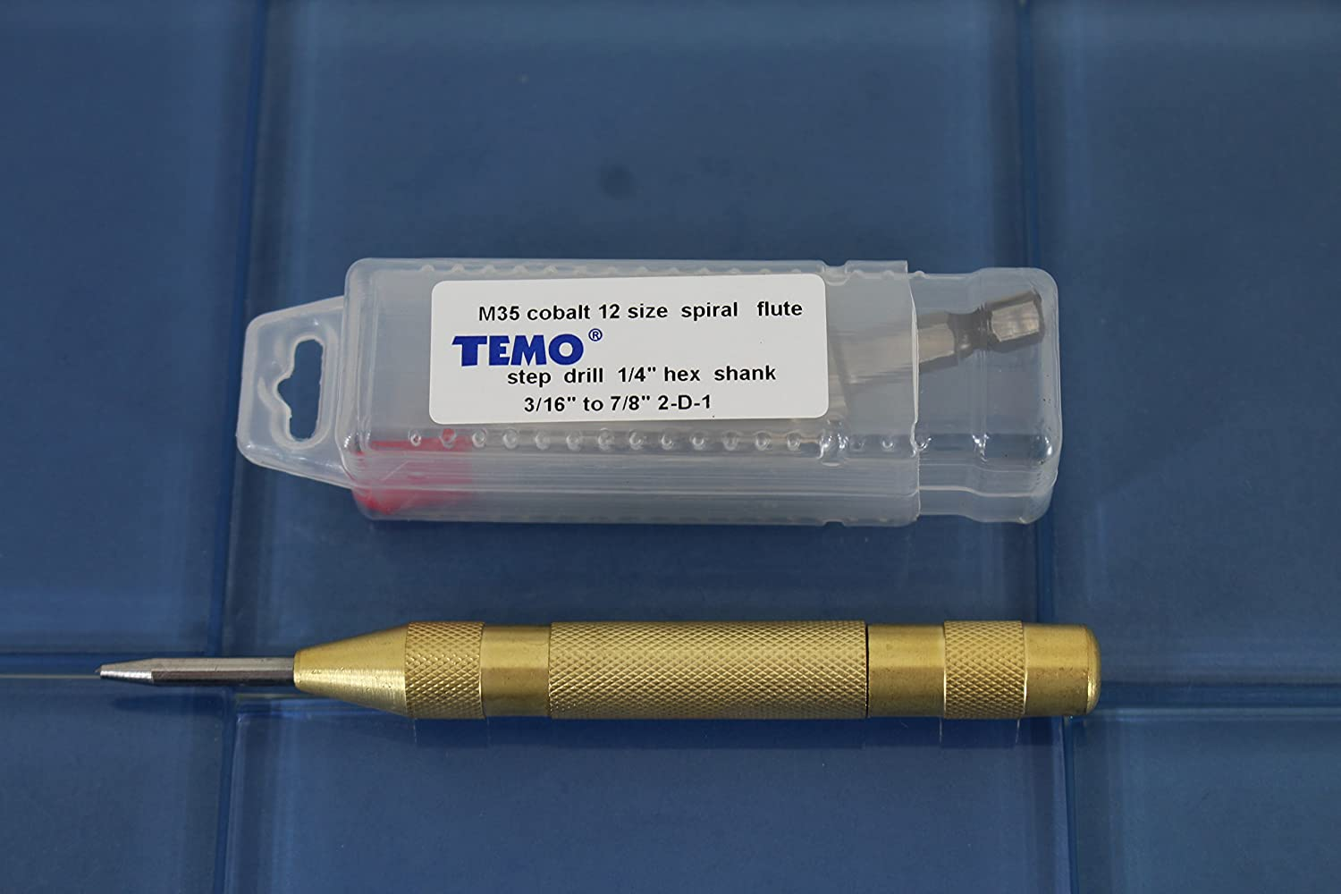22.2mm TEMO M35 Cobalt Spiral Flute 12 Size Step Drill 3//16 inch 4.8mm to 7//8 inch plus Auto Center Punch Set
