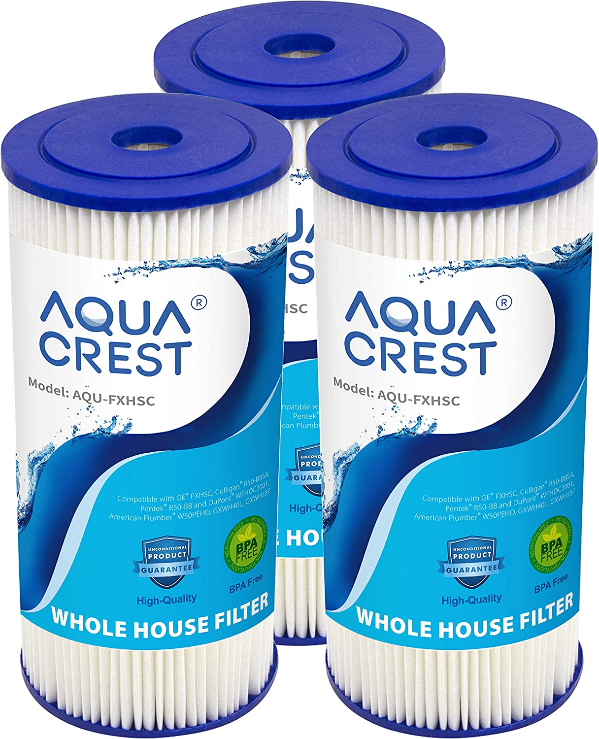 AQUA CREST FXHSC Whole House Water Filter, Compatible with GE FXHSC, Culligan R50-BBSA, Pentek R50-BB and Dupont WFHDC3001, American Plumber W50PEHD, GXWH40L, GXWH35F (Pack of 3)
