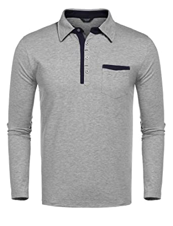 cce21efc830a9 COOFANDY Men s Regular Fit Cotton Polo Shirt Casual Long Sleeve T Shirts