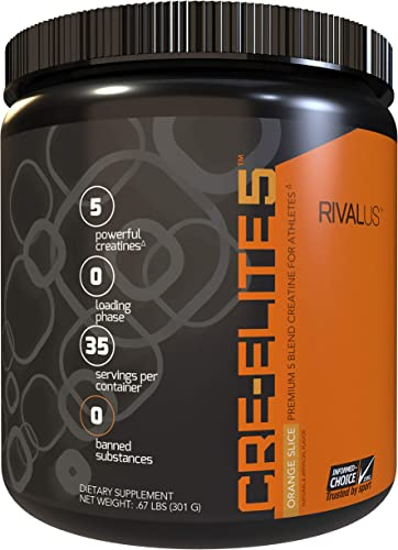 Rivalus Cre-elite5 35 Serving Pre Workout Powder, Orange, 0.9 Pound