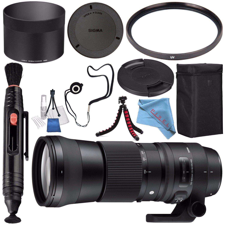 Sigma 150-600mm f/5-6.3 DG OS HSM Contemporary Lens for Nikon F #745306 + 95mm UV Filter + Lens Pen Cleaner + Fibercloth + Lens Capkeeper + Deluxe Cleaning Kit + Flexible Tripod Bundle