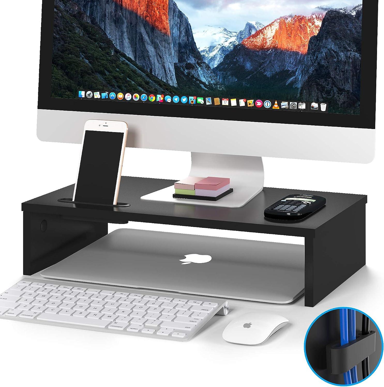 1home - Soporte de Monitor de portátil Ordenador Elevador de Monitor Negro, W420 x D235 x H104 (con Soporte para teléfono Inteligente y gestión de Cables)
