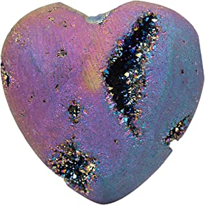 rockcloud Heart Shape Titanium Coated Agate Geode Druzy Home Decoration Pocket Stones Specimen, Rainbow