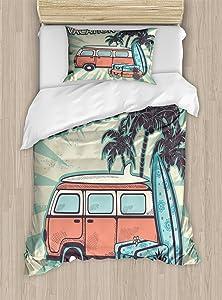 Lunarable Retro Duvet Cover Set, Hippie Van Near Coconut Palm Trees Floral Suitcases and Surf Boards, Decorative 2 Piece Bedding Set with 1 Pillow Sham, Twin Size, Blue Seafoam