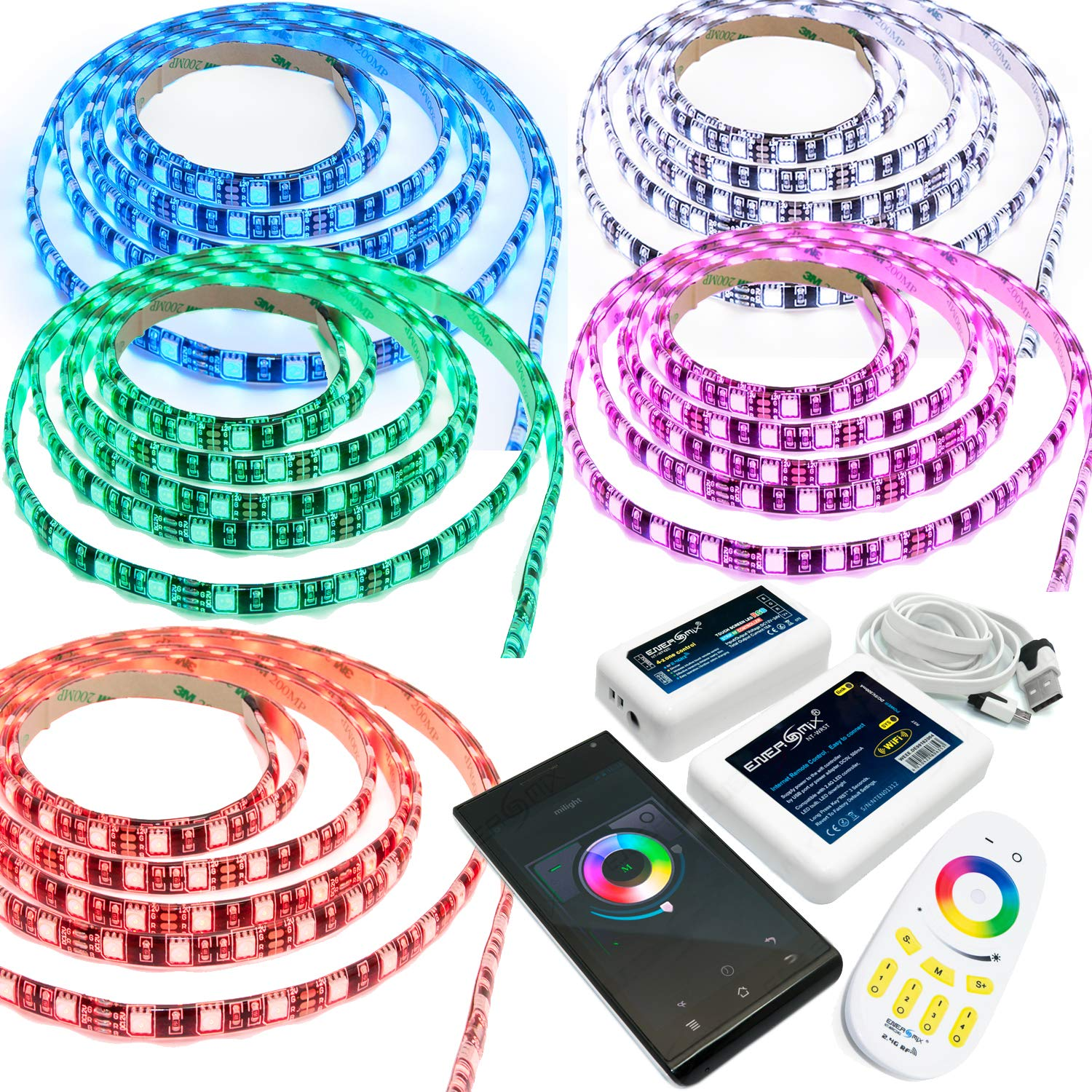 LED RGB Strip - 60 LED pro Meter inklusive W-LAN SET Weiß 7 Meter