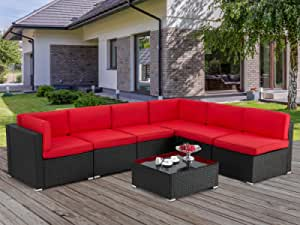 U-MAX 7 Pieces Outdoor Patio Furniture Set, All Weather Black PE Rattan Wicker Sofa Set, Sectional Furniture Conversation Set with Red Cushions and Coffee Table for Porch Garden Poolside
