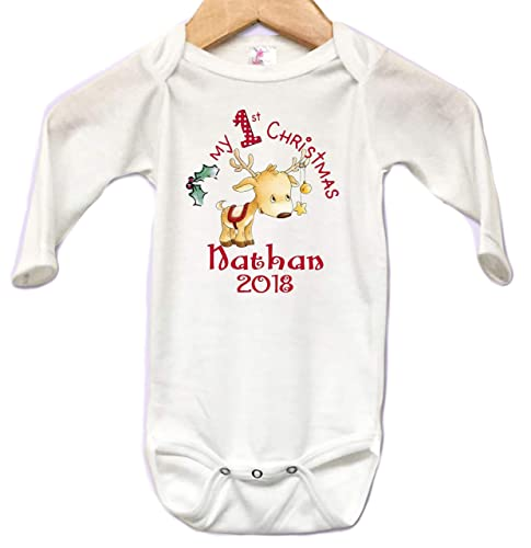 faedc9cff Onesie Long Sleeve Body Suit Babys First Christmas Reindeer Star Personalized  NAME Custom 0 to 3 mos or 3 to 6 months or 6 to 12 months for Boys or Girl