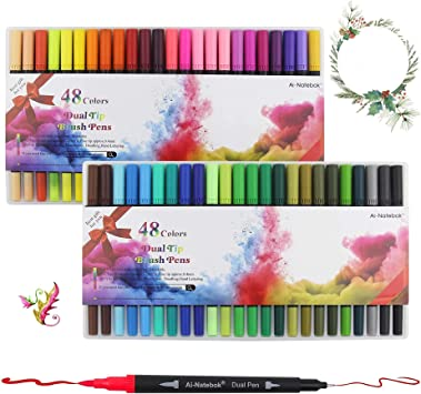 Dual Tip Markers,48 Colors Art Markers Set, Brush and Fine Tip Pens for Adult Coloring Books Bullet Journal Note Taking Writing Planning Sketching and Card Making