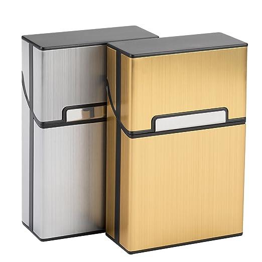 2 opinioni per LUWANZ 2 Pezzi Portasigarette Alluminio Coperchio Magnetico Pacchetto Sigarette
