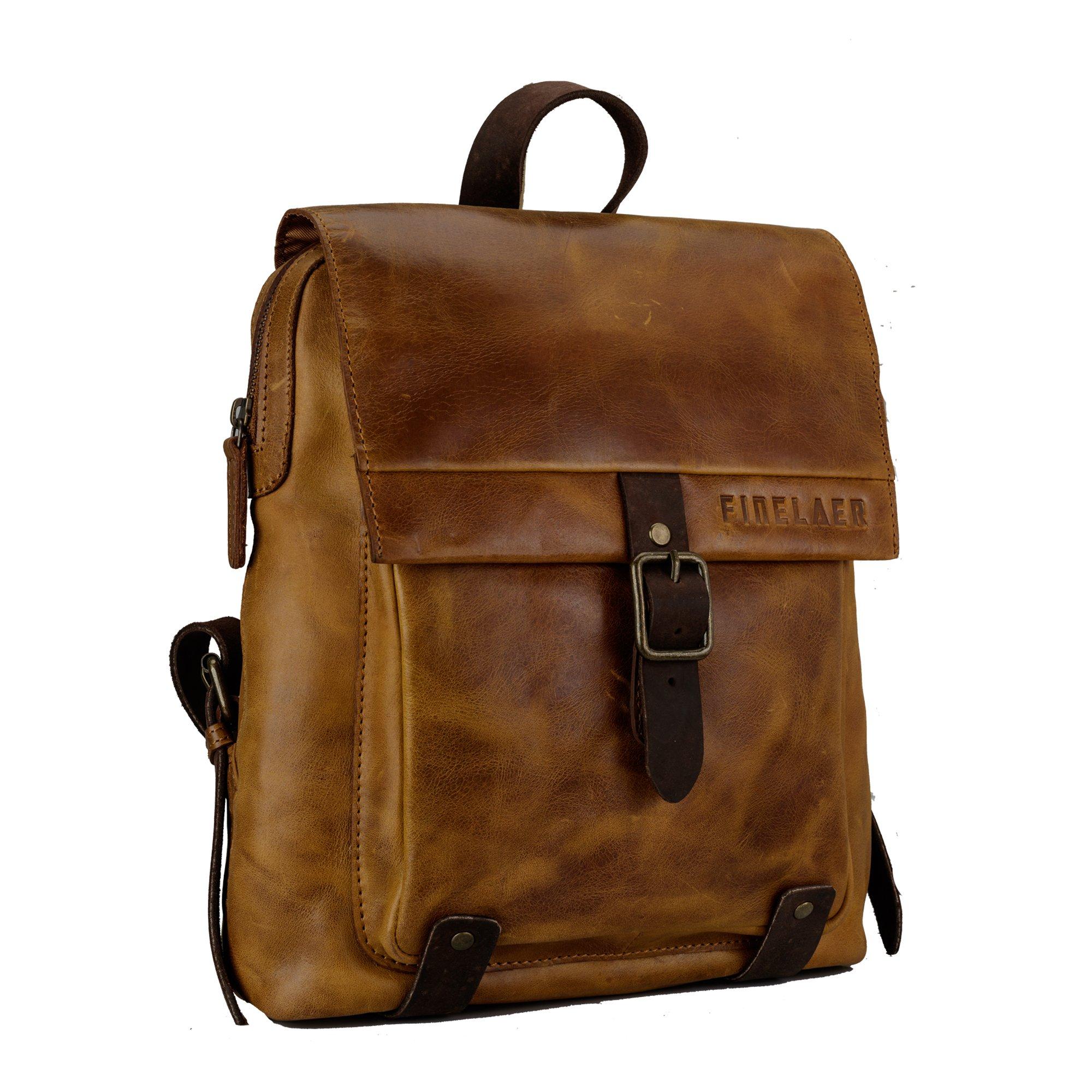 Finelaer Vintage Genuine Leather Backpack DayPack Travel College Bag Brown Men Women by FINELAER (Image #7)