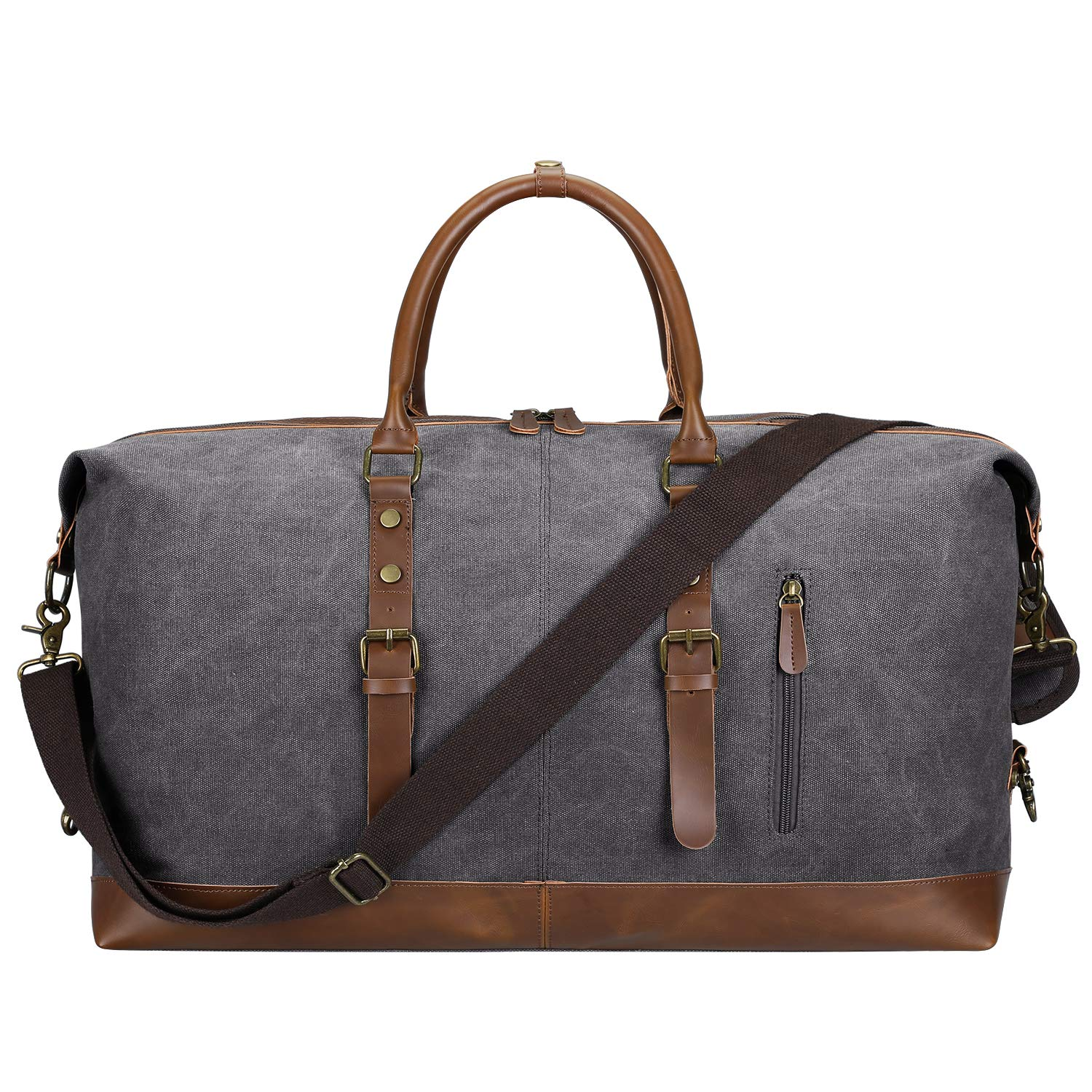 SAMSHOWS Canvas PU Leather Travel Tote Luggage Bag Oversized Weekender Duffel Bag with Removable Shoulder Strap Unisex