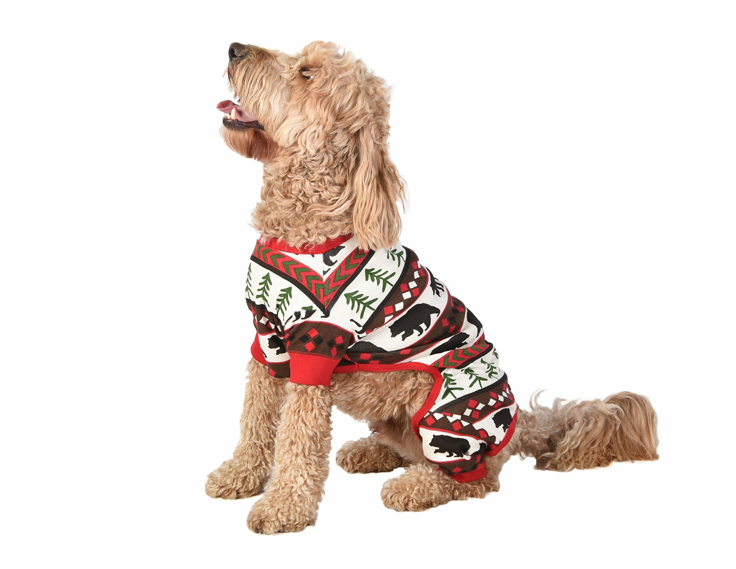Red Bear Fair Isle Dog Flapjack Onsie Sweater by LazyOne | Adult Kid Infant Dog Family Matching Pajamas (MEDIUM)