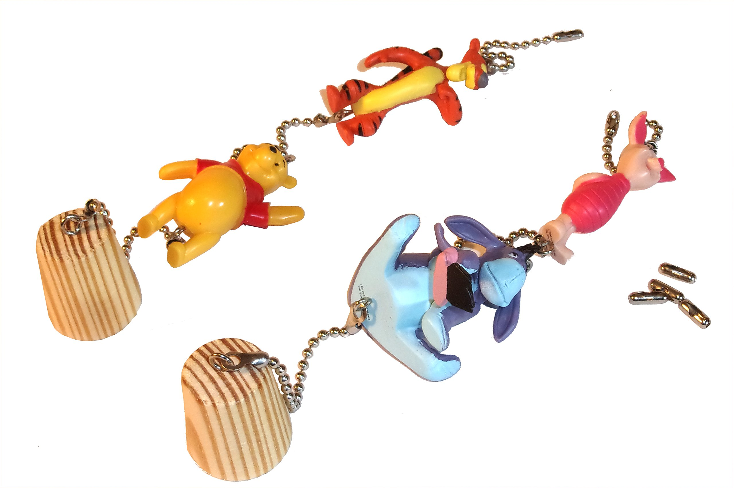 Winnie the Pooh Ceiling Fan Pull Eeyore Tigger Piglet Nursery Decor (All 4 on 2 chains)