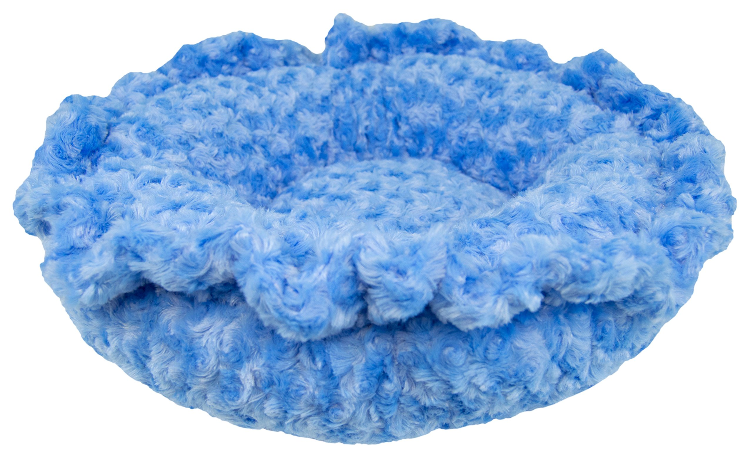 BESSIE AND BARNIE Ultra Plush Blue Sky/Wolfhound Grey (Patch) Shag Luxury Shag Deluxe Dog/Pet Lily Pod Bed by BESSIE AND BARNIE (Image #3)
