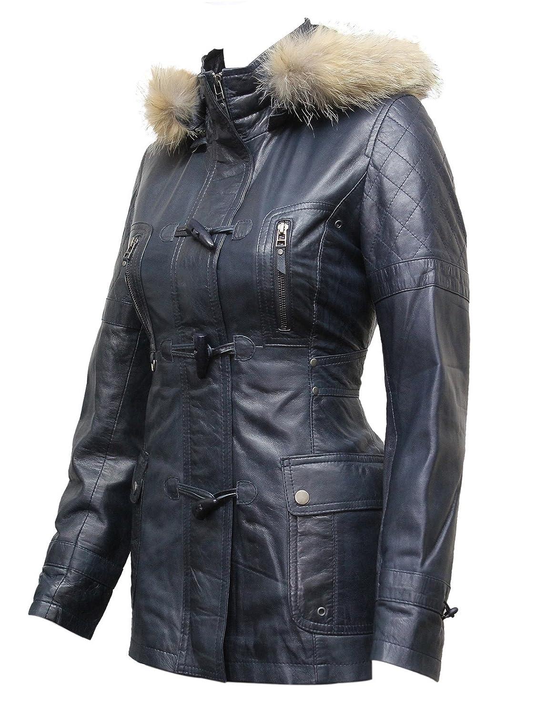 2d3b9687e ABSY Womens Ladies Luxury Racoon Fur Hooded Navy Blue Leather Biker ...