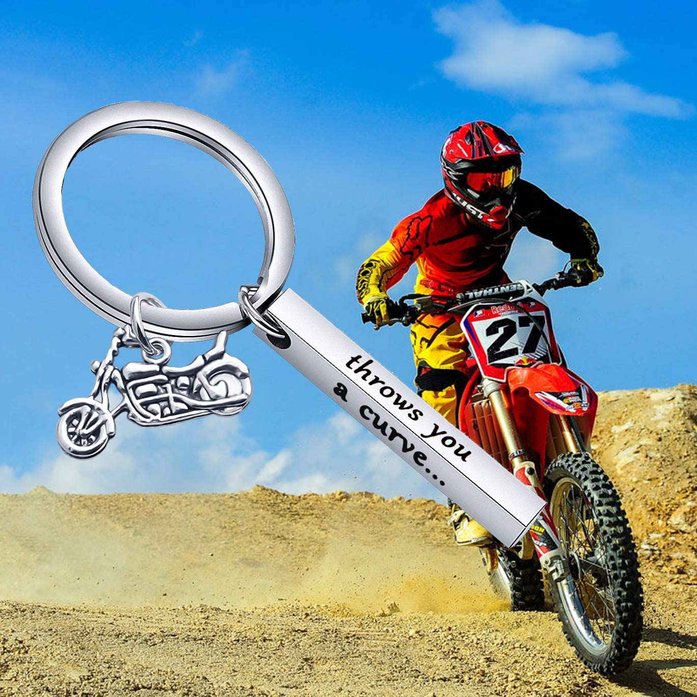 WUSUANED Motorcycle Keychain When Life Throws You A Curve Lean Into It Bike Gift for Dad Husband Boyfriends