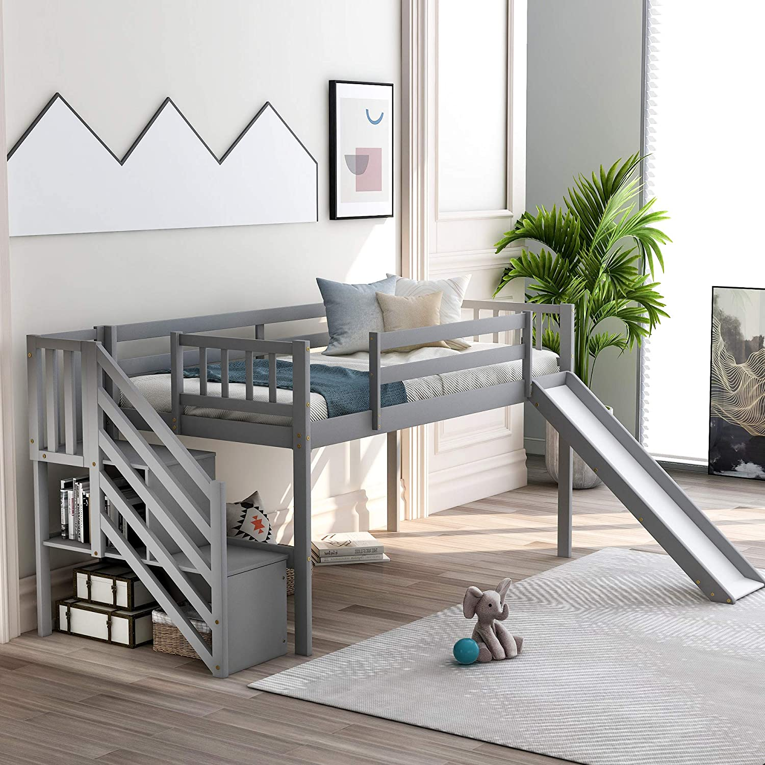 Twin Low Loft Bed With Stairs And Slide For Kids Baysitone Wood Twin Size Low Loft Bed Frame With Staircase Storage And Guardrails Easy To Assemble No Box Spring Required Gray Kitchen