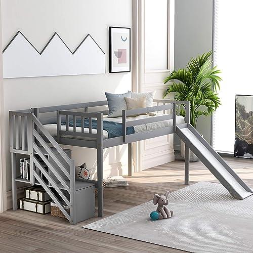 SOFTSEA Kids Wood Twin Low Loft Bed