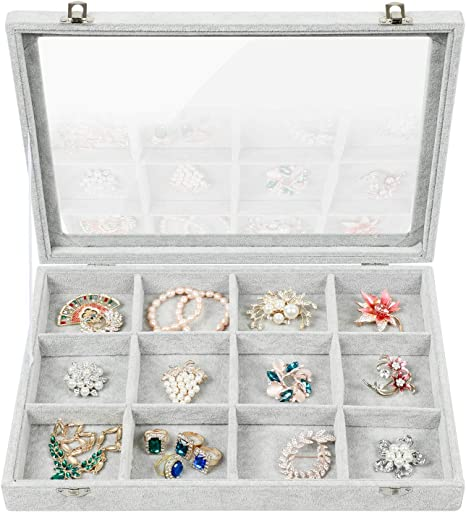 Stylifing 12 Grid Ice Velvet Clear Lid Jewelry Tray Showcase Removable Display Lockable Storage Box for Girls Women 12 Grid Black