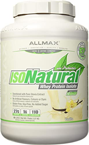 ALLMAX Nutrition IsoNatural, Pure Whey Protein Isolate, Vanilla, 5 lbs 2.27 kg