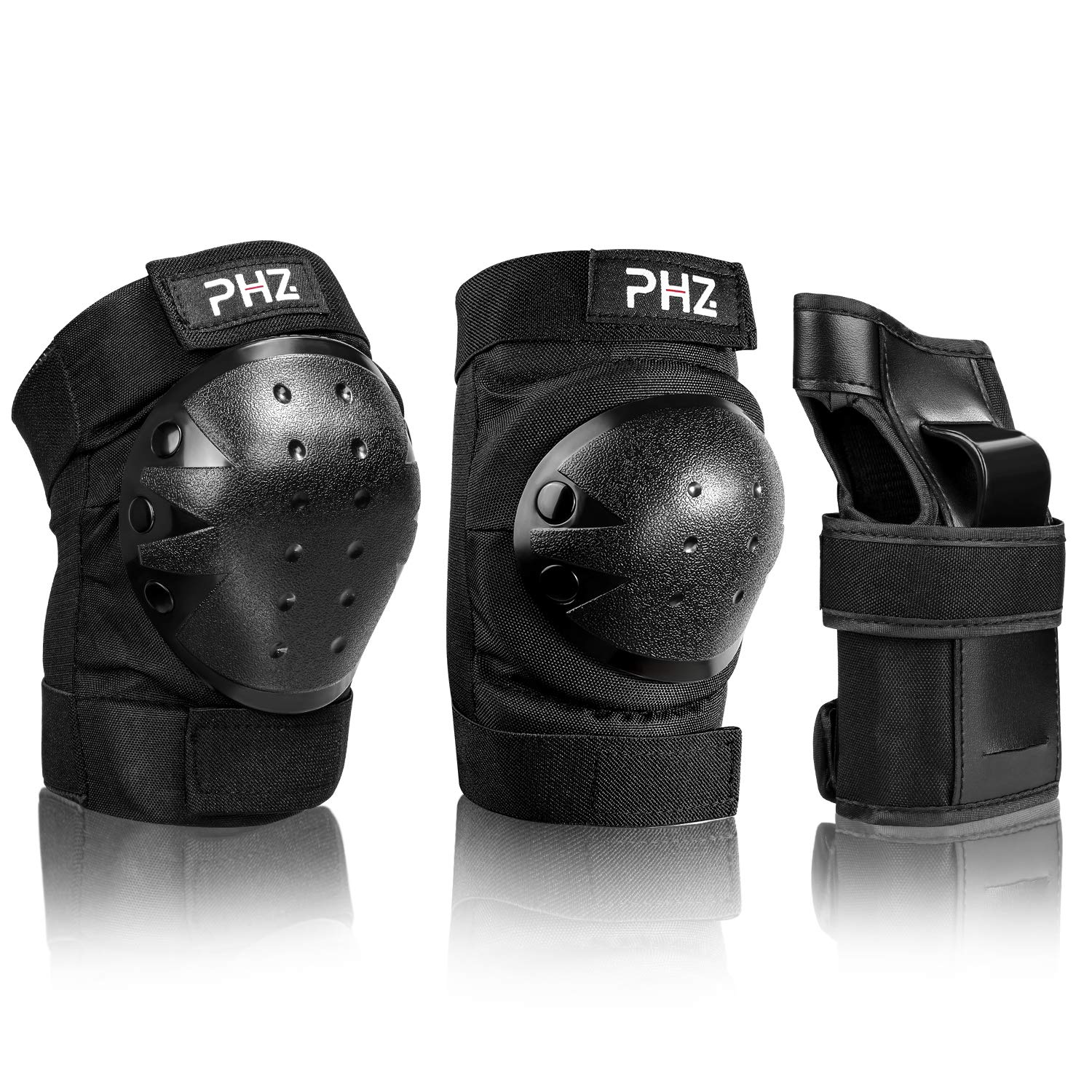 PHZ Kids 3 in 1 Protective Gear Set Knee Pads Elbow Pads Wrist Guards for Skateboard Cycling Skating Bike (Black, Large)