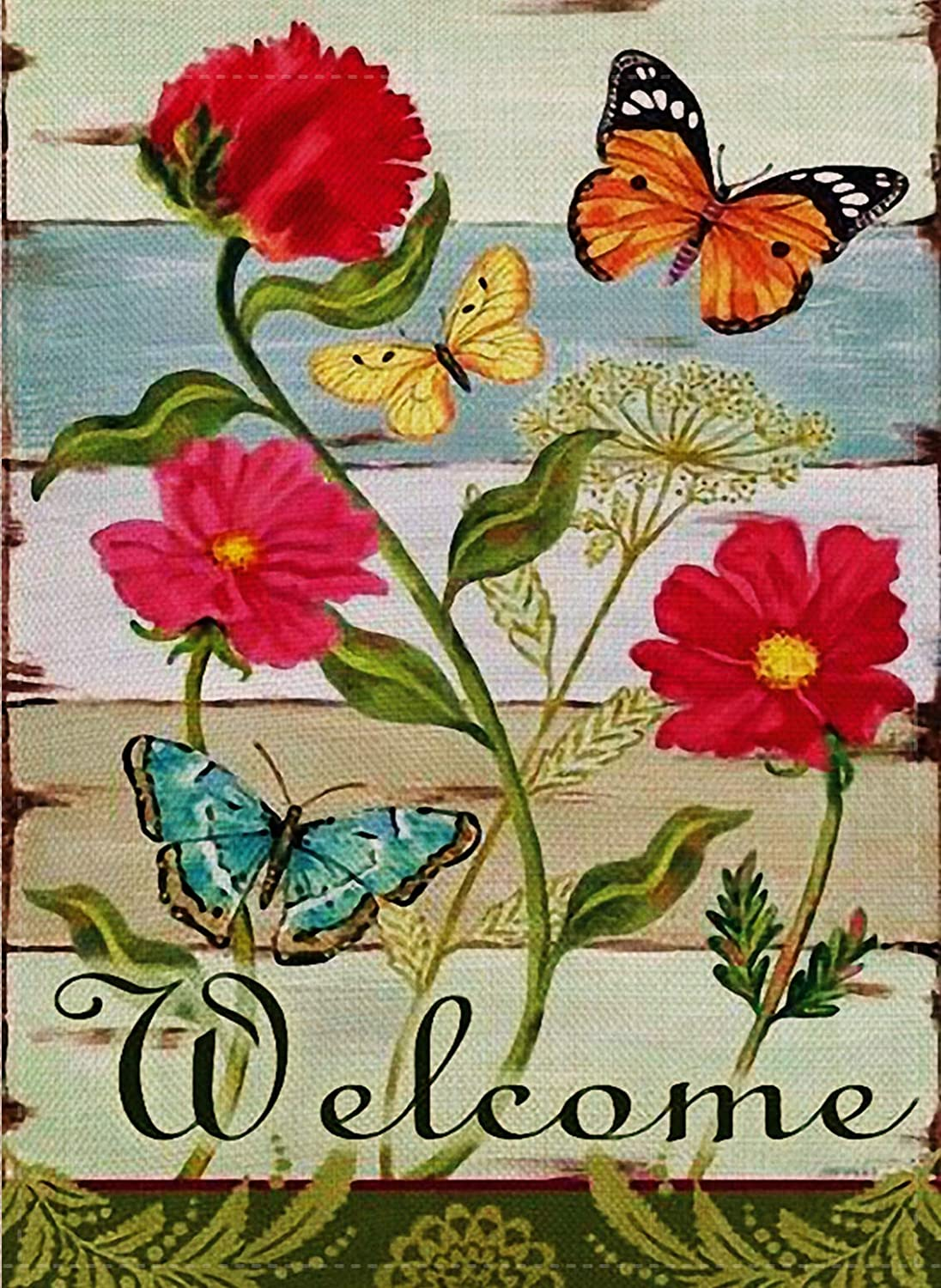 Furiaz Decorative Vintage Flower Small Garden Flag Double Sided, Home Floral Burlap Welcome Quote Zinnia Butterfly Outside House Yard Decoration, Seasonal Outdoor Décor Flag 12.5 x 18 Spring Summer