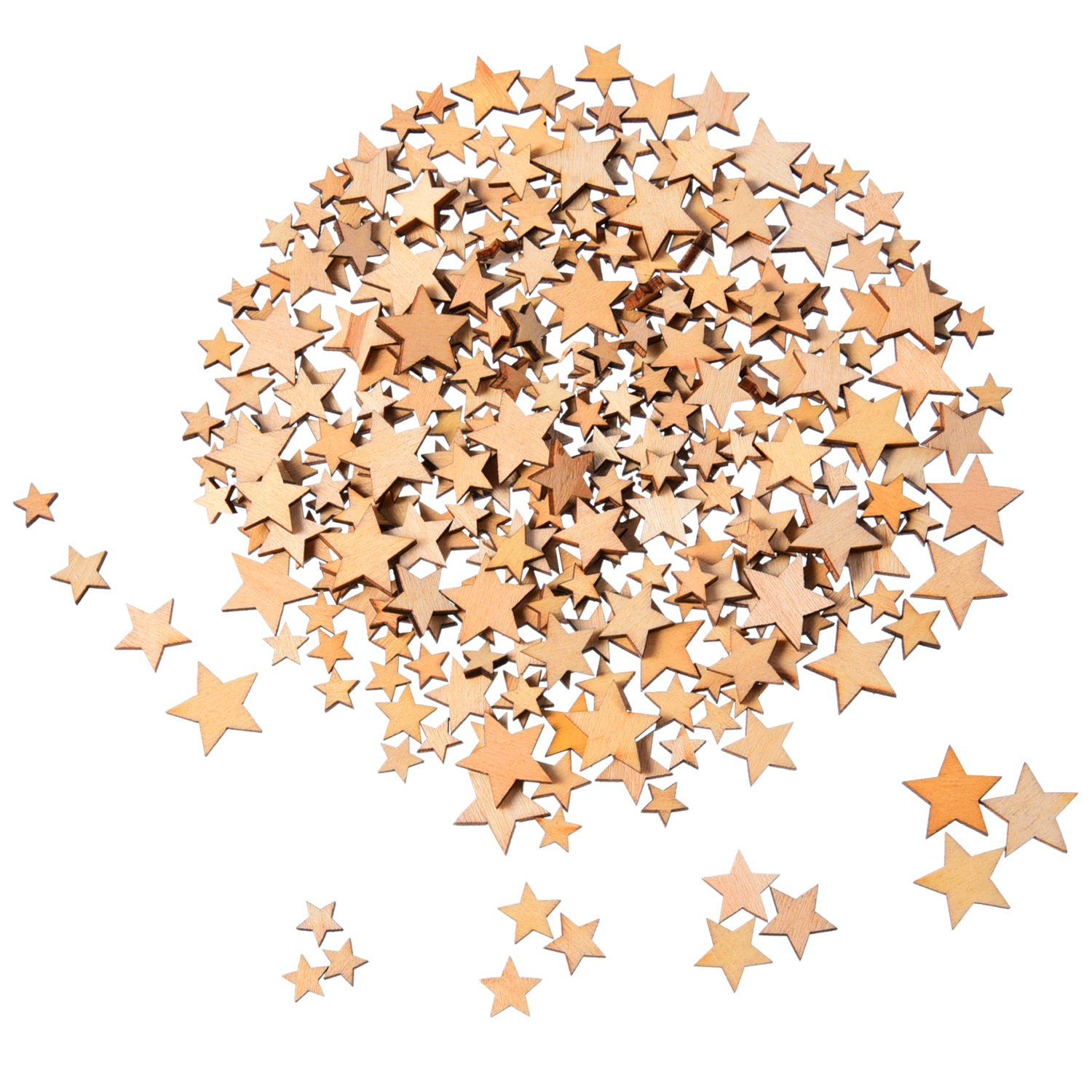 200 Pieces Wooden Stars Blank Wood Star Slices Mini Star Embellishments for Wedding Crafts Making DIY, 4 Sizes Mixed Outus