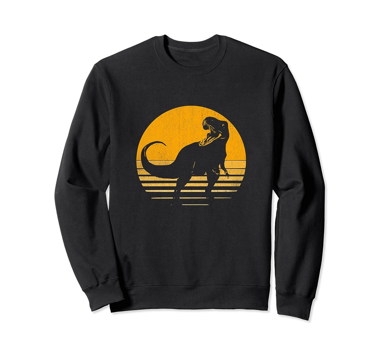 Awesome Retro Dinosaur Yellow Sunrise Non Hooded Sweatshirt-AZP
