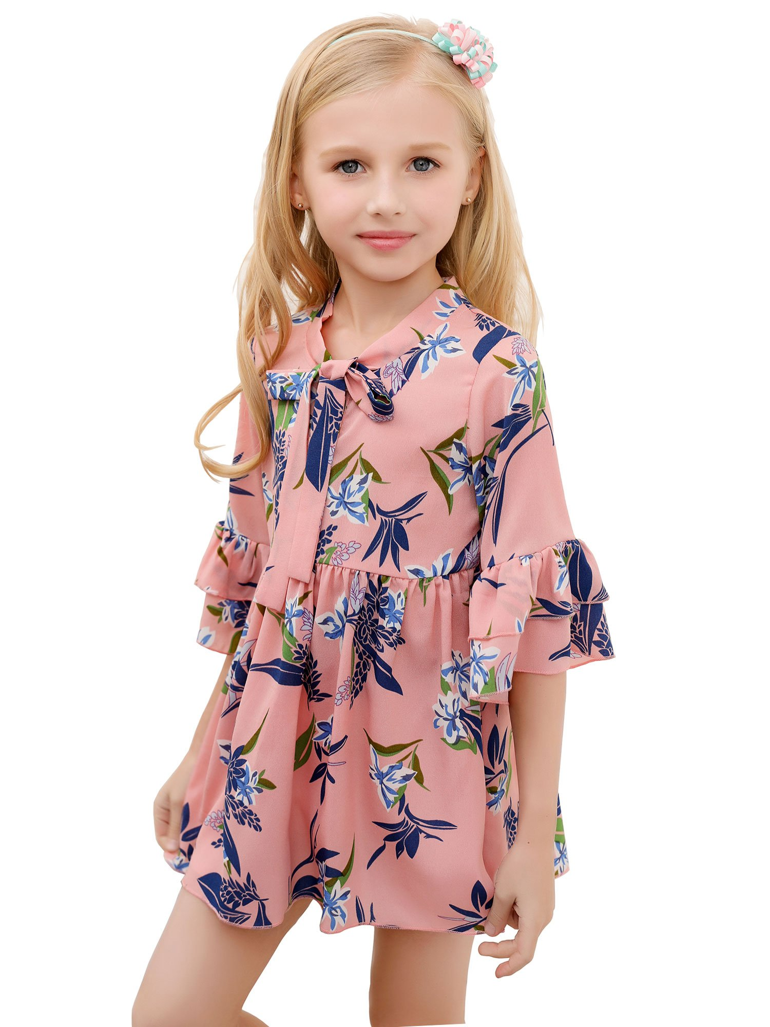 AuroraBaby Summer Girls Floral Chiffon Petal Sleeve Dresses Casual Tie Printing Pink Dress for Girls Size 4T
