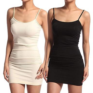 6f3ab82e53c Amazon.com  TheMogan Women s Stretch Seamless Long Cami Slip Dress ...