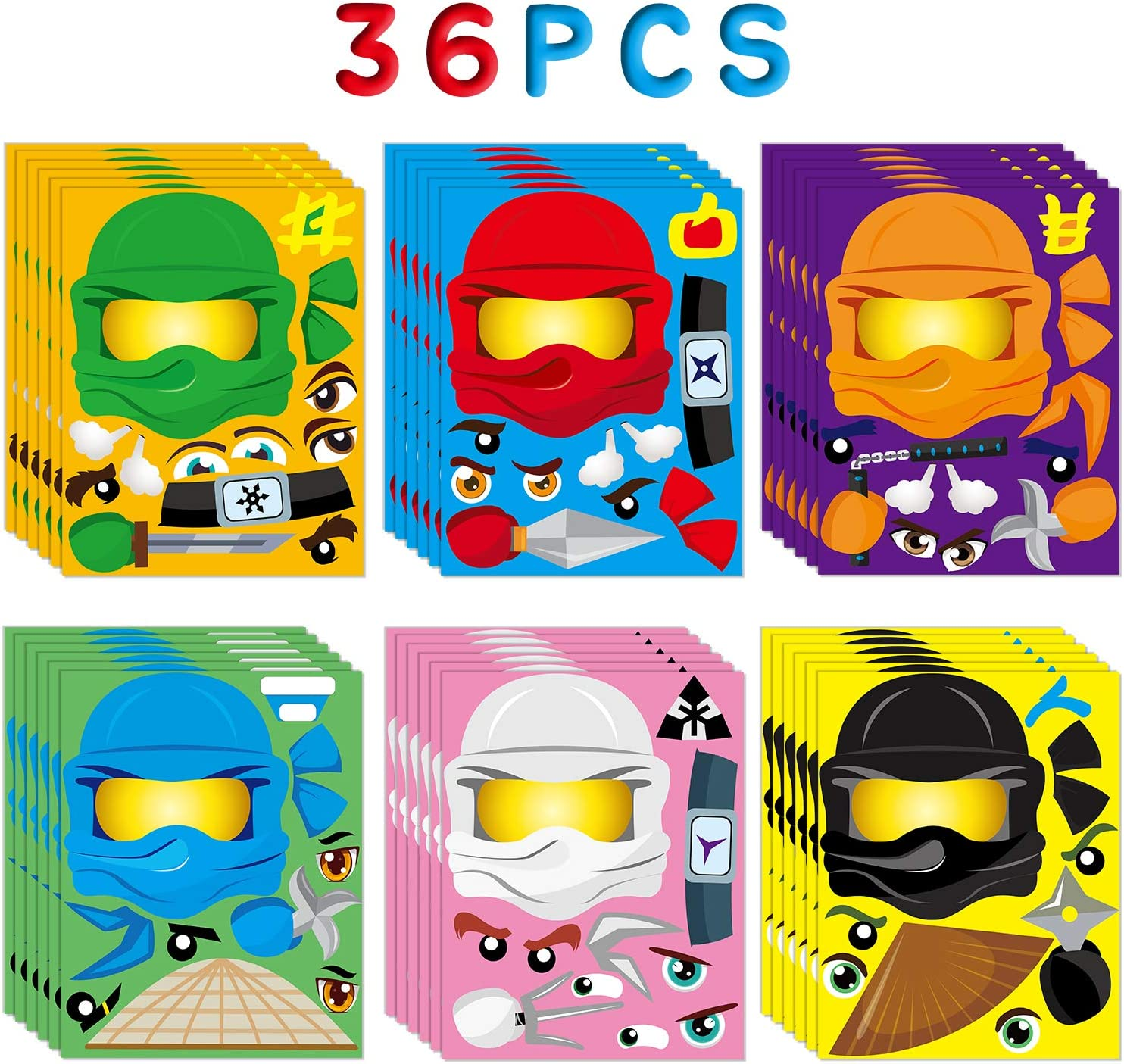 MALLMALL636Pcs Ninja MakeaFaceStickers DIY Art Crafts Kit PartyFavorsGames Ninja Themed Birthday Party Supplies Dress Up Ninja Masters Sticker Decorations Classroom Prizes for Kids Boys Girls