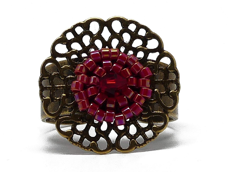 Anillo floral latón perlas japonesas rojo 20mm ajustable regalo ...