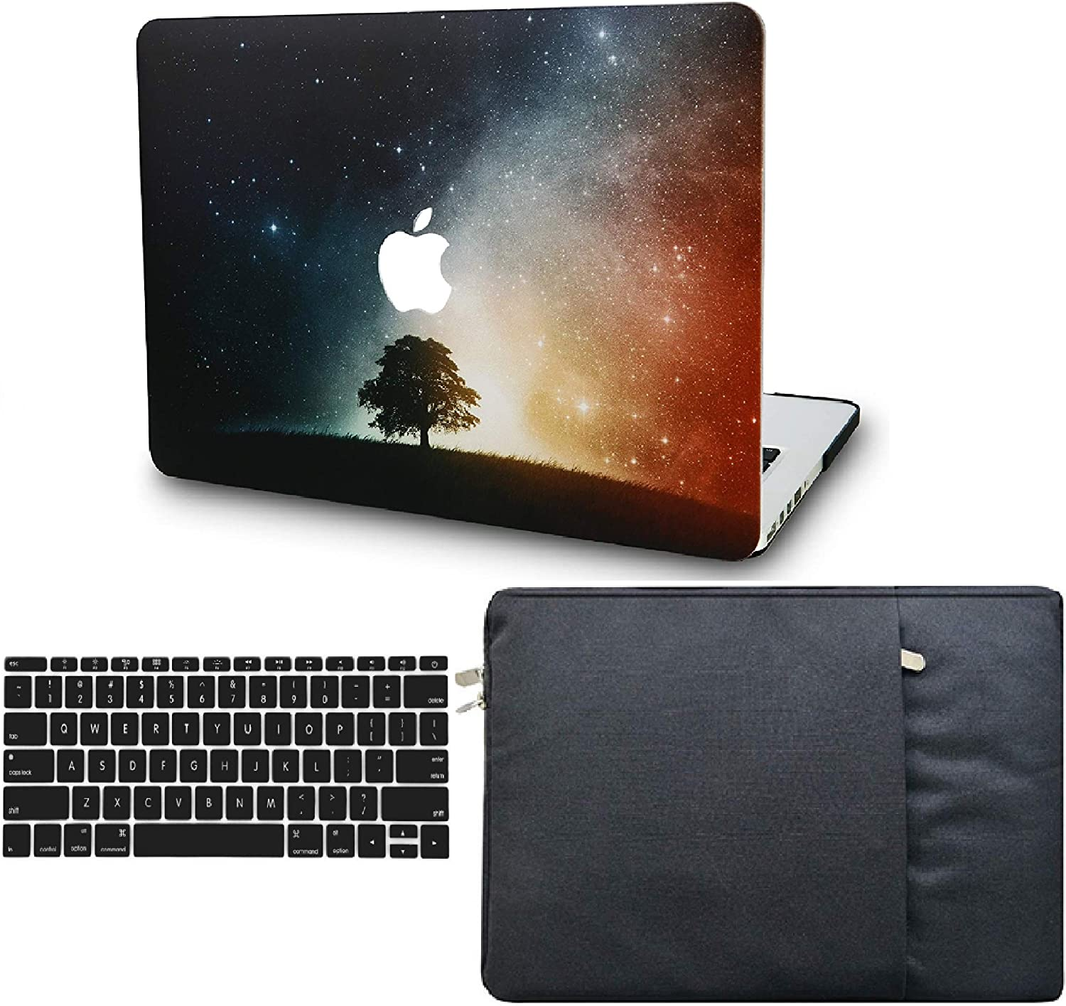 "KECC Laptop Case for MacBook Pro 13"" (2020/2019/2018/2017/2016, with/Without Touch Bar) w/Keyboard Cover + Sleeve Plastic Hard Shell Case A2159/A1989/A1706/A1708 3 in 1 Bundle (Lonely Tree)"