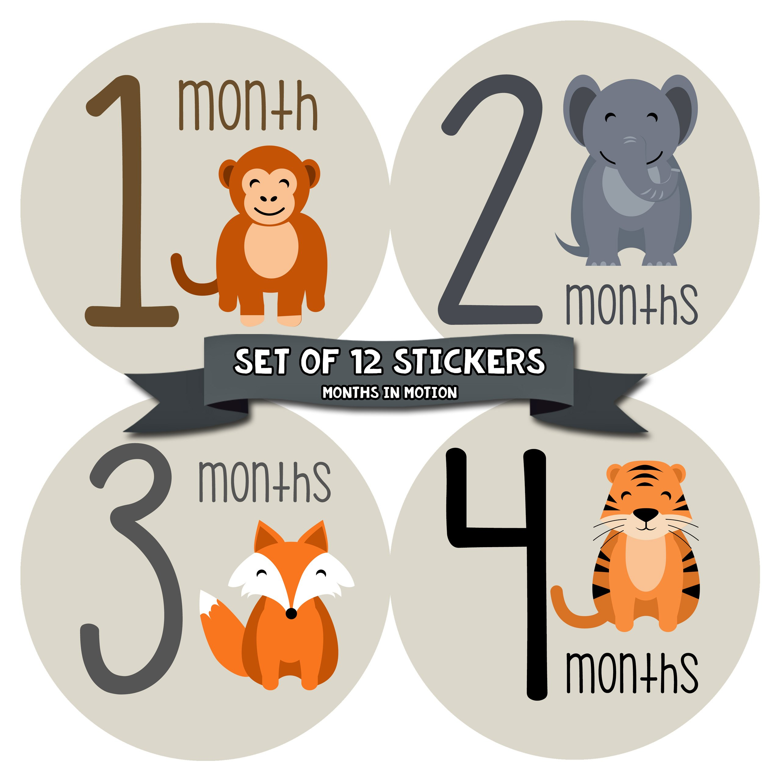Monthly Baby Stickers by Months In Motion | 12 Month Milestone Sticker for Newborn Babies Animals (Style 1163)