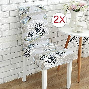 Chycet Stuhlhussen 2 Stück, Stretch Stuhlbezug Elastische Moderne Husse, Dekoration  Stuhl Abdeckung