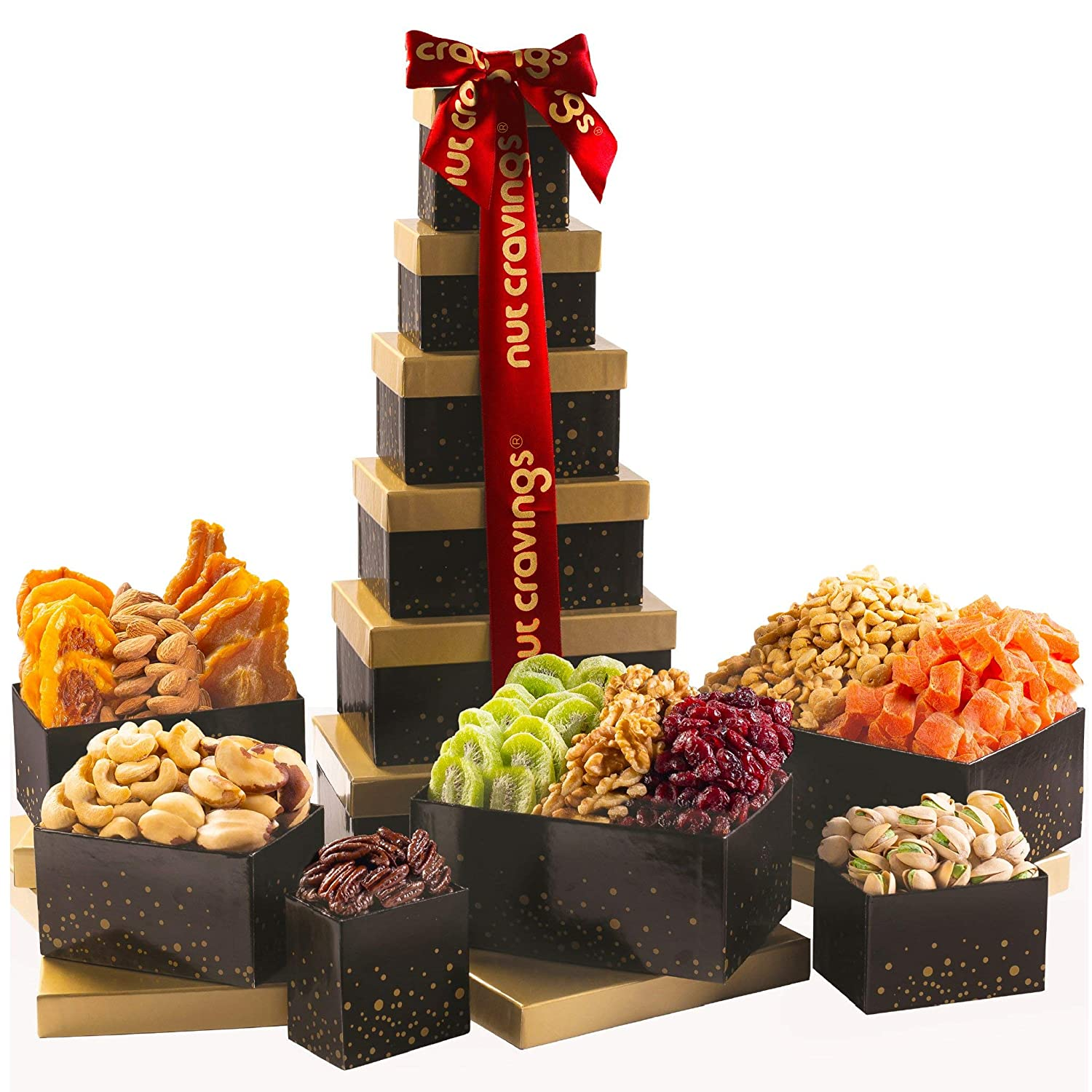 Gourmet Dried Fruit & Nut Tower Gift Basket Tray (12 Mix) - Variety Care Package, Birthday Party Food, Holiday Arrangement Platter - Healthy Snack Box for Families, Women, Men, Adults