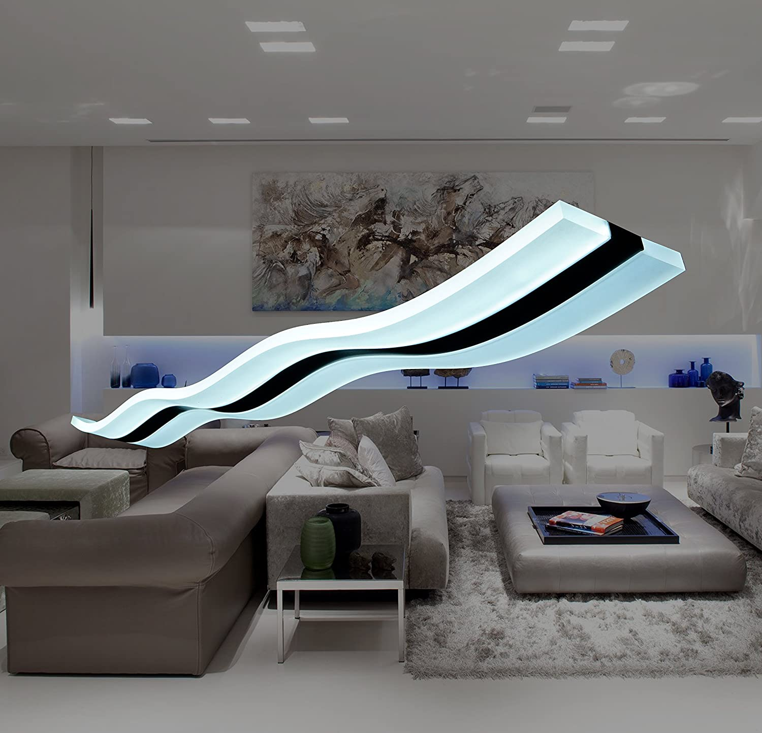Place modern lighting wave led pendant light fixture ceiling lamp chandelier bright lighting for contemporary living room bedroom dining room kitchen home