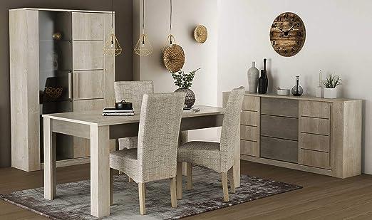 Miroytengo Pack Muebles salón con 4 sillas Estilo Moderno Vitrina ...