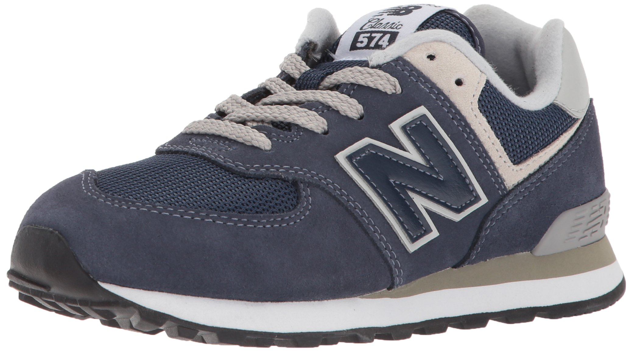 New Balance Boys' 574v1 Essentials Sneaker, Navy/Grey, 5 M US Big Kid