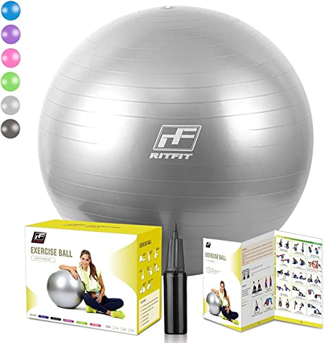 RitFit 2000lbs Exercise Stability Ball, Anti Burst for Pilates Yoga Gym Fitness,Use As Desk Chair, Hand Pump Workout Guide Included,Gym Quality Silver, 55cm