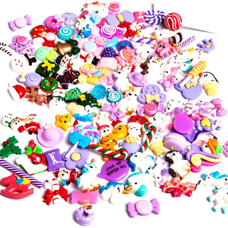 cuentas de adelgazamiento mixtas para adornos resina plana /álbumes de recortes Juego de 120 abalorios de unicornio y dulces de Navidad manualidades Angshop