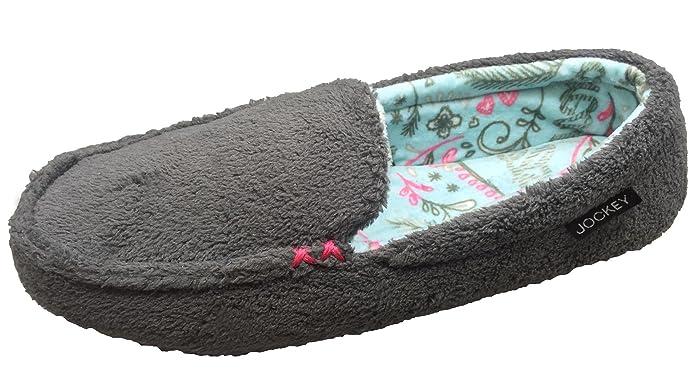 Womens Slip On Pattern Lined Loafer Slipper (Small/5-6 B(M) US, Jet Grey) Jockey
