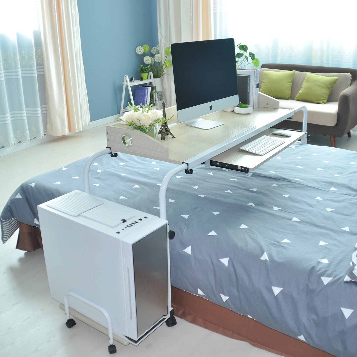 Overbed Table 55.12'' Laptop Cart Adjustable Overbed Computer Table Desk with wheels - 1.4m Over Bed Table Tray for Eating and Working on Bed Beige Nursing Table Hospital and Home Use