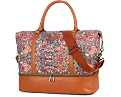 BAOSHA HB-28 Ladies Women Canvas Travel Weekender Bag Overnight Carry-on Duffel Tote Bag (Multicolor With Shoe Compartment)