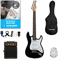 Stretton Payne Kids 7-11yrs Size Electric Guitar with practice amplifier, padded bag, strap, lead, plectrum, tuner, spare strings. Guitar in Black