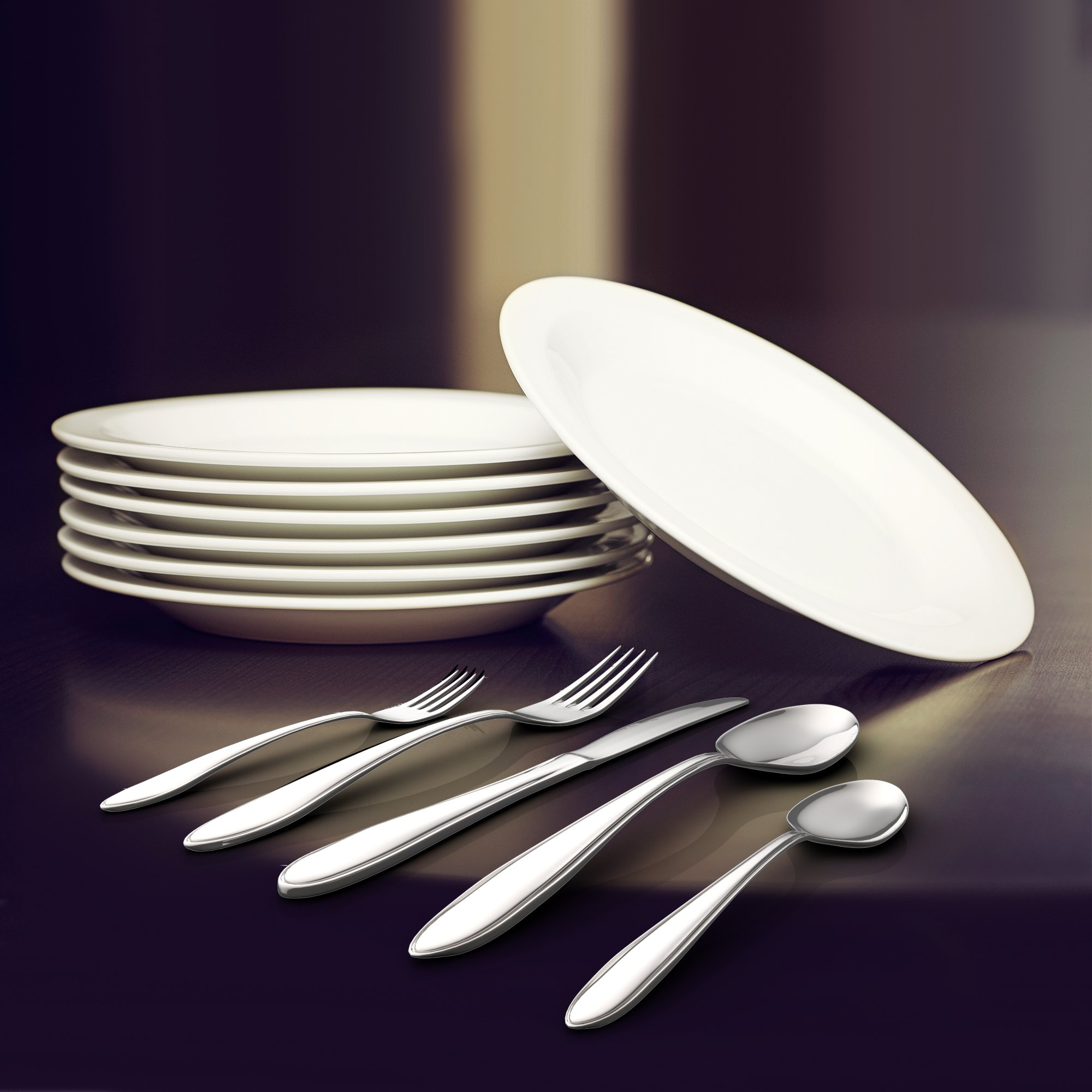 Royal 20-Piece Silverware Set - 18/10 Stainless Steel Utensils Forks Spoons Knives Set, Mirror Polished Cutlery Flatware Set by Royal (Image #4)