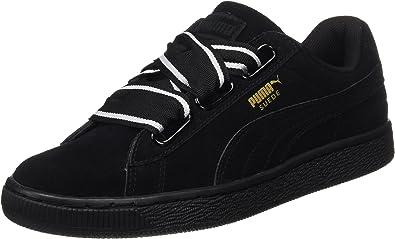 Suede Heart Satin Femme Chaussures Noir Puma