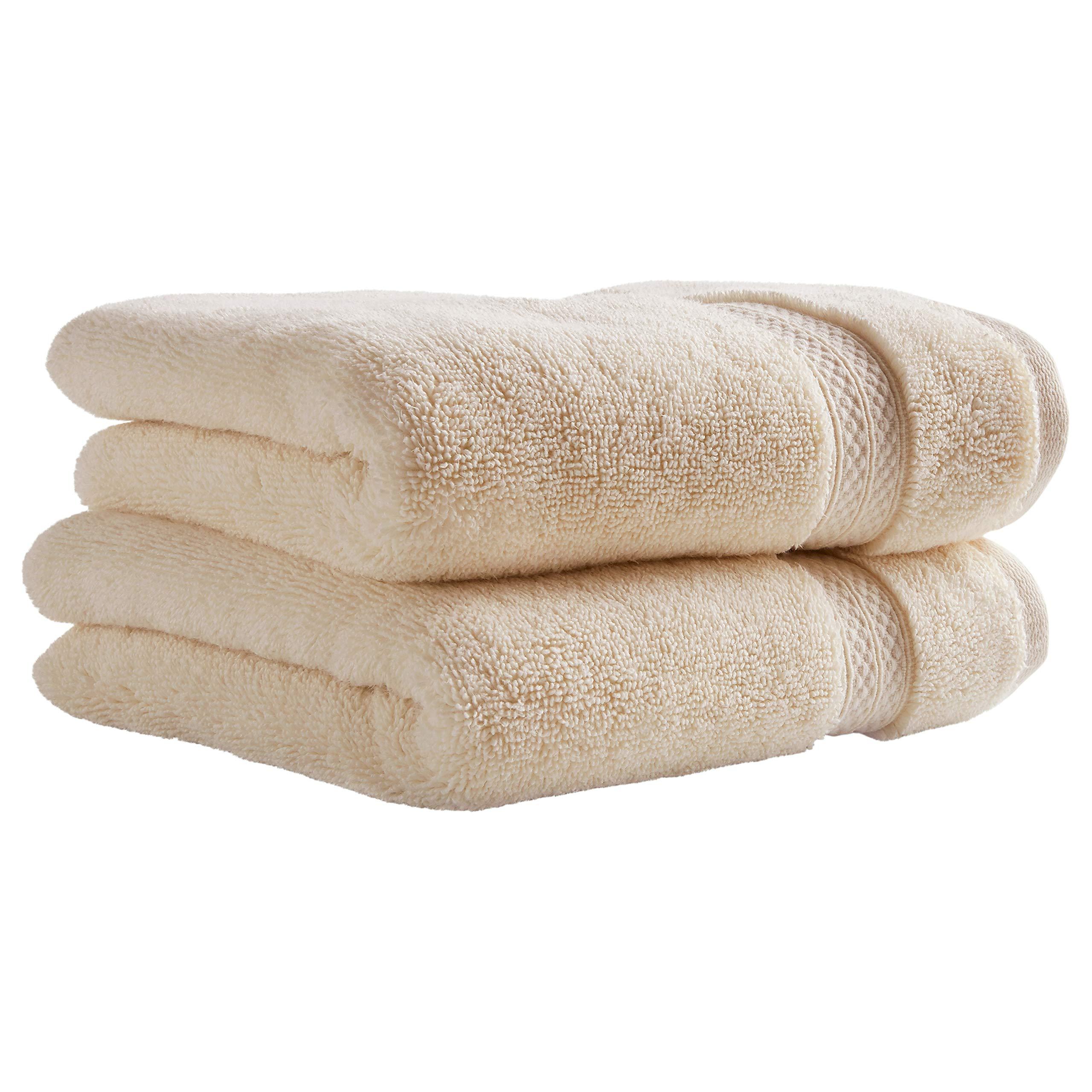 Stone & Beam Heavyweight Turkish Cotton Hand Towels, Set of 2, Ivory