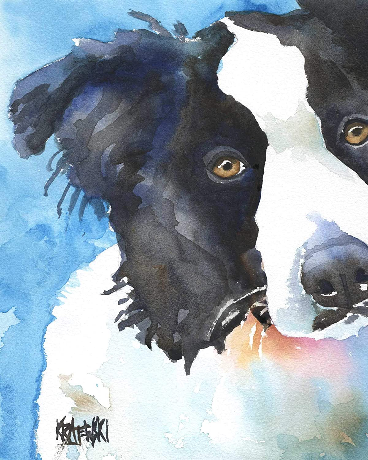 Border Collie Dog Art Print Signed by Artist Ron Krajewski 8x10