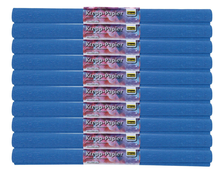 Idena 60024 - Carta crespa, 50 x 250 cm, confezione da 10 rotoli, colore: blu oltremare Iden Nürnberg GmbH